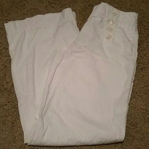 Ivory Linen Blend Pants.